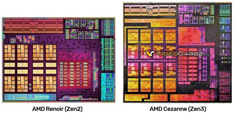 """""""Cezanne"""" APU procesoriaus silicio nuotrauka"""