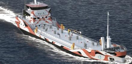 """""""Asahi Tanker"""" tankeris tikriausiai atrodys taip. Gamintojo nuotrauka"""