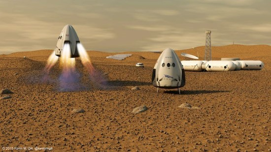 Vision of the SpaceX colony on Mars © Kevin Gill (CC BY-SA 2.0) |  commons.wikimedia.org